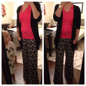 9.21.15 - patterned pants, pink top, black cardigan and little helper