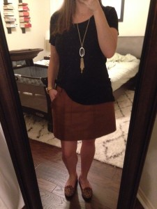 9.25.15 - Conference attire - black tee, brown faux suede skirt, leopard print flats