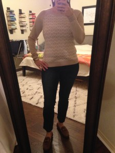 10.5.15 - sweater, cropped jeans, loafers - and I didn't have to go in for jury duty, yay!
