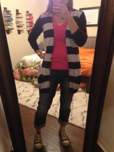 10.7.15 - pink tshirt, blue striped long cardigan, cuffed boyfriend jeans, sneakers