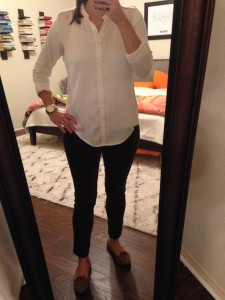 10.8.15 - ivory tab sleeved button down, brown velour cropped pants, leopard print flats - the texture of my pants pleased some co-workers and caused others to shudder; I was just glad they fit again.