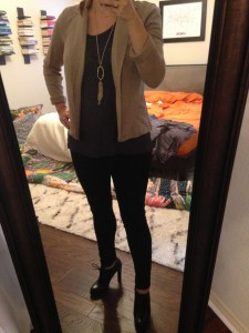 10.16.15 - dinner with friends - khaki blazer, grey tshirt, black jeggings, black way too high of a heel oxfords (picked out by Maggie) switched too black booties when I was in the car