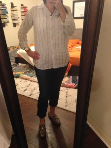 10.17.15 - button down, cropped jeans, Cole Haan python print loafers that I found on clearance at DSW for $29.99 - I couldn't pass that up