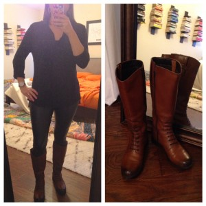 Cool Sunday morning - black tab sleeved button down, black faux leather leggings, and Clark knee boots (found on major clearance last spring)