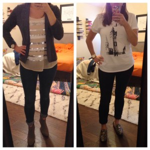 10.19.15 - On left my outfit for work - gray blazer, striped sequined tank, cuffed jeans, gray booties then outfit change to stay home with a sick daughter - tshirt, comfy daughter, and breaking in my loafers