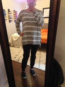 10.29.15 - comfy for Maggie's Fall Festival - gray and white oversized sweater, black joggers, slip on sneakers