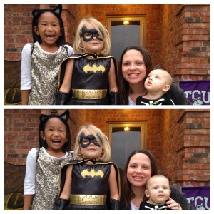 10.31.15 - a bat, bat girl, a skeleton, and me (I might be ready to dress up next year)