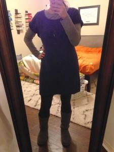 12.28.15 - gray long sleeve tee under short sleeve blue sweatshirt tunic, gray fleece leggings, gray Uggs