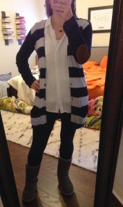 12.31.15 - white button down under navy striped cardigan, jeggings, brown Uggs