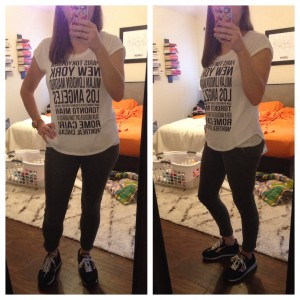 12.24.15 - graphic print tshirt, olive skinny pants, black sneakers because it was almost 80 degrees on Christmas eve