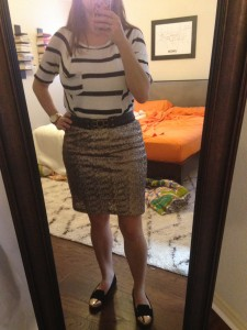 12.24.15 - for Christmas Eve service (because it was still hot) I traded tights and booties for no tights and cold capped flats, black and white striped t shirt, gold sequin skirt, and black braided belt