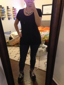 12.26.15 - black tee, cuffed skinny jeans, black sneaker and new statement necklace - didn't my mom pick out a great necklace?