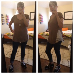 12.25.15 - road trip to my parents for Christmas - camo cap, tan with crochet inset tee, cuffed skinny jeans, black sneakers