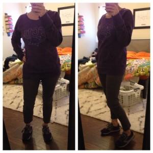 12.27.15 - road trip back home and to winter weather - purple TCU sweatshirt, gray skinny pants, and purple sneakers
