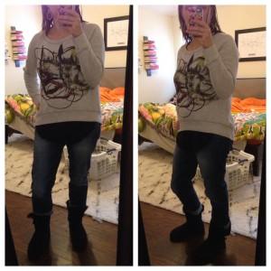 12.29.15 - sweatshirt over black tank, boyfriend jeans, black Uggs