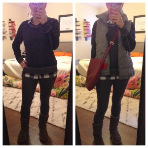 12.30.15 - 12.30.15 - a day of errands - blue and white check flannel shirt under blue sweatshirt, gray jogger/legging pants, brown Uggs; gray puffer vest and red/burgundy crossbody bag