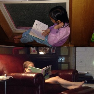 Girls relaxing with some books