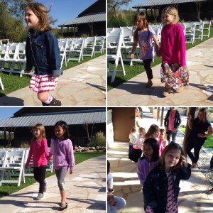 Some of the 10 flower girls practicing