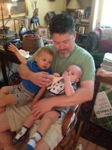 Jack hanging out with Uncle James and cousin Tyler