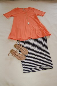 LuLaRoe Perfect T - tangerine, Navy and white striped pencil skirt, Nude sandals