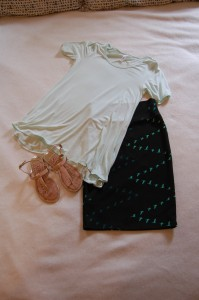 LuLaRoe Perfect T - mint, LuLaRoe Cassie Skirt - dark green with ombre flying v birds, Nude Sandals