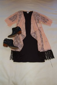 LuLaRoe Monroe Blush Lace Kimono, LuLaRoe Julia Black dress, Black booties