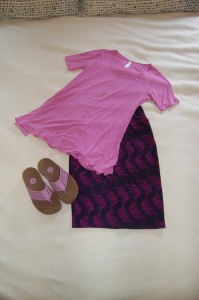 LuLaRoe Perfect T - purple/pink, LuLaRoe Cassie Skirt - Navy with purple elephants on parade, FitFlops