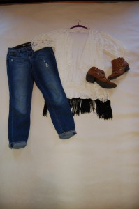 LuLaRoe Monroe Ivory Lace Kimono, LuLaRoe Irma Ivory Tunic, distressed skinny jeans, brown booties
