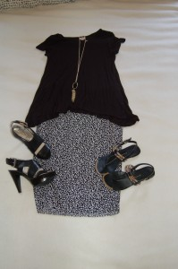 Black Tee, Black with white dots pencil skirt, black sandals or black platform heel