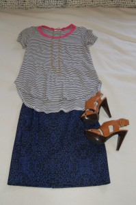 Navy and white striped tee with pink ring collar, Navy and black cheetah print pencil skirt, tan platform heels
