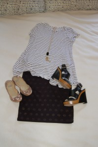 Black and white striped tee; LuLaRoe Cassie skirt - black with gold polka dots; Gold flats or black wedges