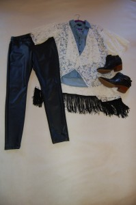 LuLaRoe Monroe Ivory Lace Kimono, Denim top, Faux Leather leggings, black booties