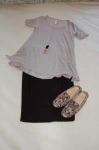 LuLaRoe Perfect T - gray; Black pencil skirt; Python print driving moccasins