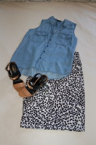 Denim sleeveless button down; LuLaRoe Cassie - black and white cheetah print; Color block, block heels