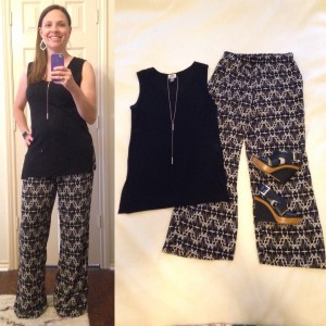 Black sleeveless tunic, black and tan patterned wide leg pants, black leather wedges