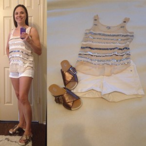 Sequin striped tanks, white jean shorts, metallic flatforms