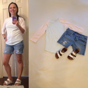 LuLaRoe Randy mint and peach tee, cut offs, Birkenstocks