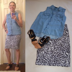 Denim sleeveless shirt, LuLaRoe Cassie cheetah print skirt, color-block block heels