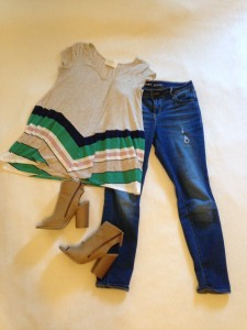 Striped tunic, skinny jeans, tan booties
