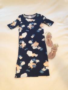 LuLaRoe Julia dress - navy with floral pattern, nude sandals