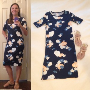 LuLaRoe Julia dress - navy with floral print; nude sandals