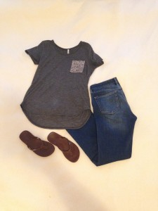Gray Tee with sequin pocket, bootcut jeans, flipflops