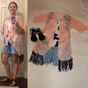 Peach LuLaRoe Monroe Kimono, Black and white patterned shirt, cut offs, black Birkenstocks