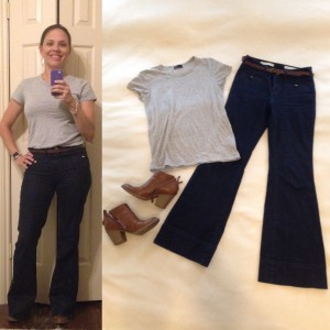 Gray Tshirt, High waisted flare jeans, brown ankle boots