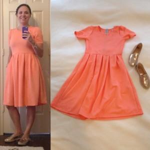 Melon/Peach LuLaRoe Amelia dress, gold espadrilles