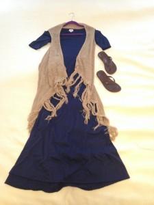 Navy LuLaRoe Ana Maxi dress, Tan sweater vest with tassels, brown flip flops