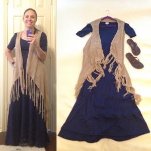 Navy LuLaRoe Ana maxi dress, beige vest with tassels, brown flip flops
