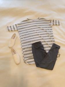White and gray striped LuLaRoe Irma Tunic, Gray heathered LuLaRoe One Size leggings, white slip ons