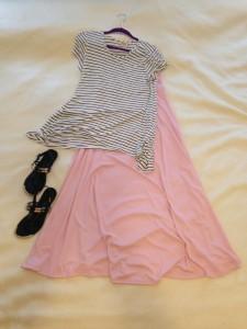 Black and white striped tee, LIght pink LuLaRoe Maxi skirt, black sandals