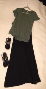 Olive and black striped LuLaRoe Classic Tee, Black LuLaRoe Maxi Skirt, black sandals